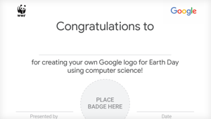 Image of the certificate with badge placeholder